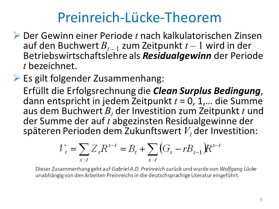 Preinreich-Lücke-Theorem Der Gewinn einer Periode t nach kalkulatorischen Zinsen auf den Buchwert B t – 1 zum Zeitpunkt t – 1 wird in der Betriebswirtschaftslehre als Residualgewinn der Periode t bezeichnet.