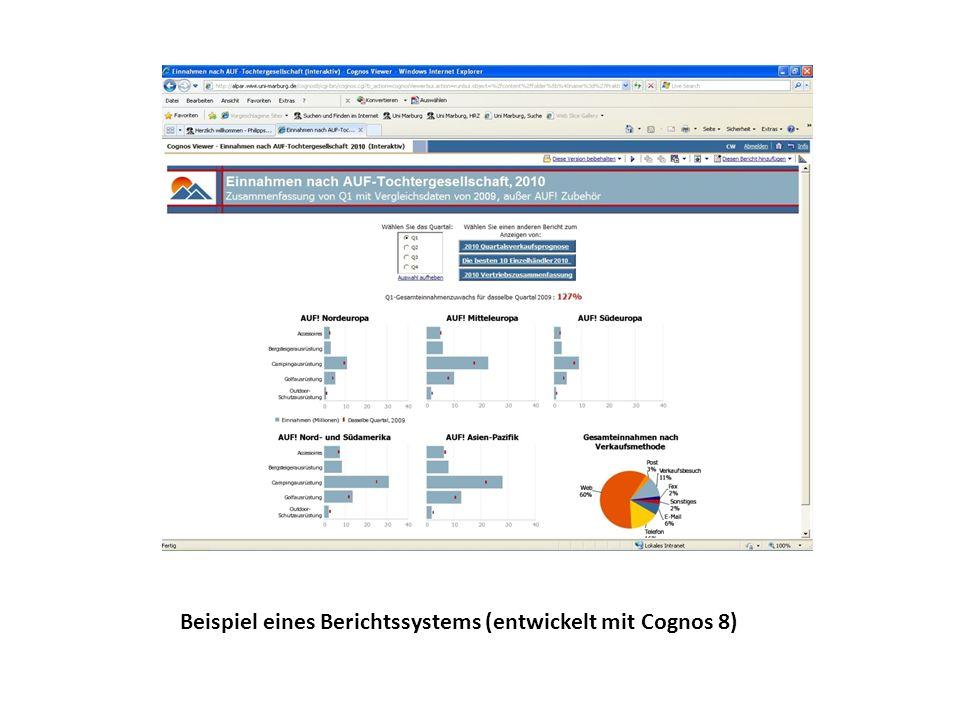 Beispiel eines Berichtssystems (entwickelt mit Cognos 8)