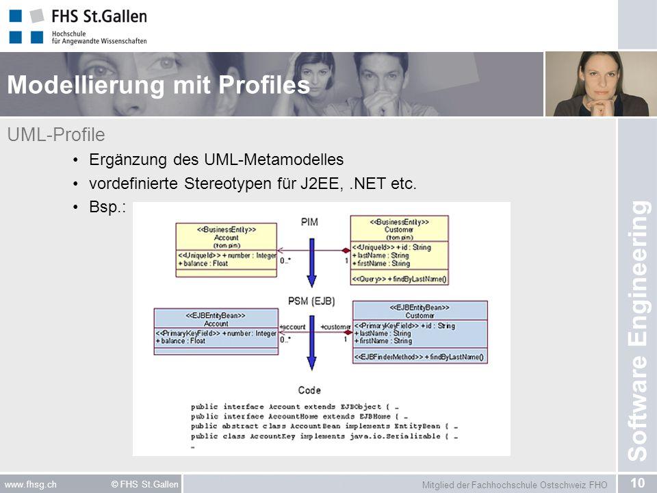 Mitglied der Fachhochschule Ostschweiz FHO 10 www.fhsg.ch © FHS St.Gallen Software Engineering Modellierung mit Profiles UML-Profile Ergänzung des UML