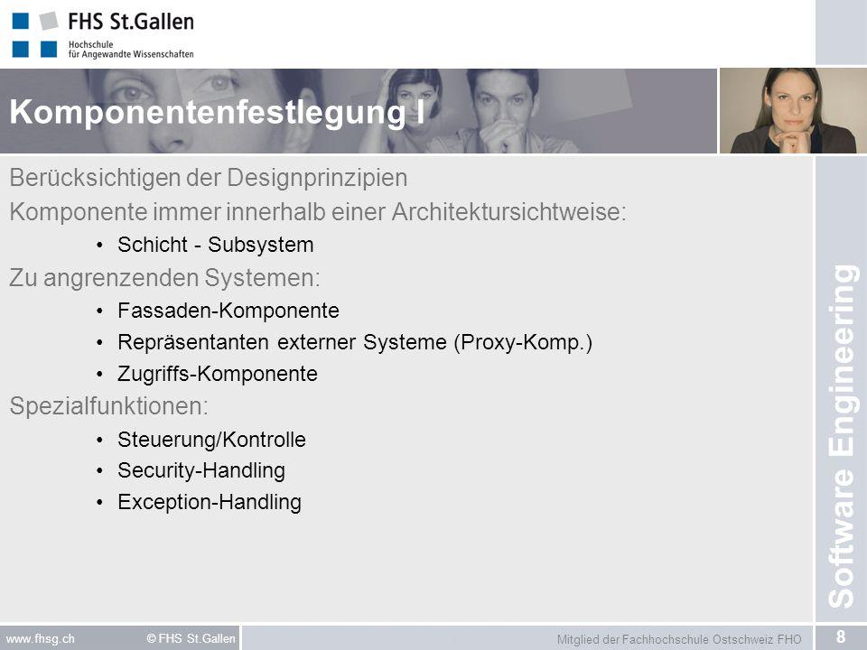Mitglied der Fachhochschule Ostschweiz FHO 8 www.fhsg.ch © FHS St.Gallen Software Engineering Komponentenfestlegung I Berücksichtigen der Designprinzi