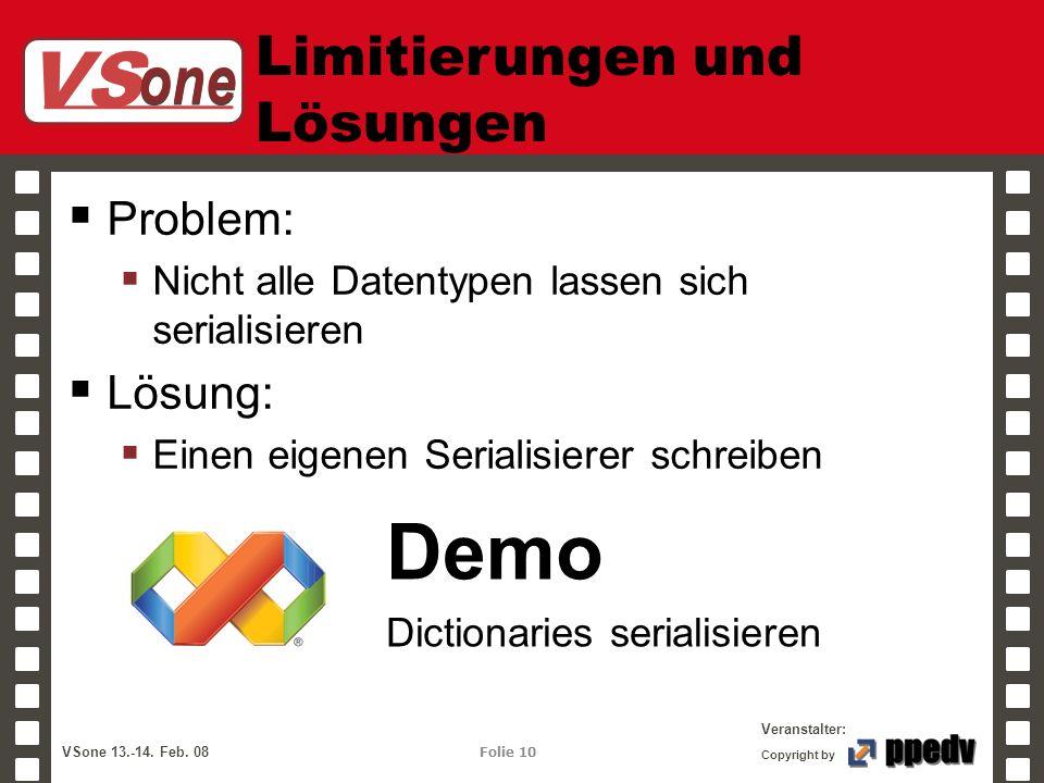 VS one Veranstalter: VSone 13.-14. Feb. 08 Folie 10 Copyright by Limitierungen und Lösungen Problem: Nicht alle Datentypen lassen sich serialisieren L