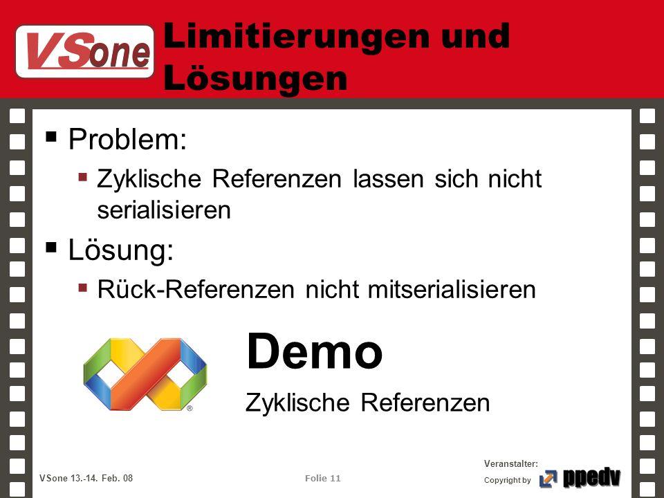 VS one Veranstalter: VSone 13.-14. Feb. 08 Folie 11 Copyright by Limitierungen und Lösungen Problem: Zyklische Referenzen lassen sich nicht serialisie