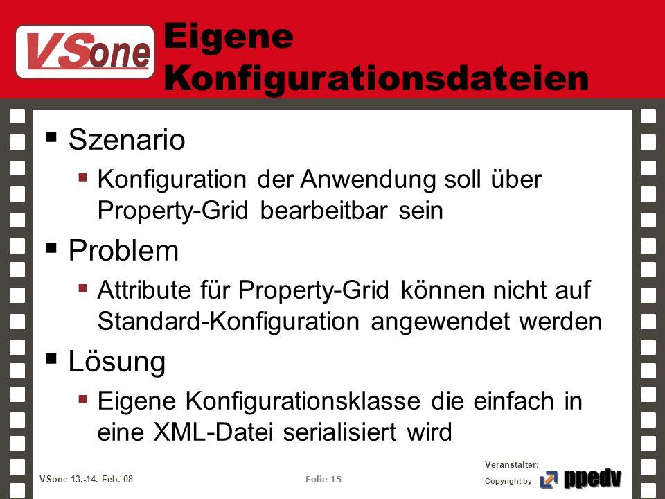 VS one Veranstalter: VSone 13.-14. Feb. 08 Folie 15 Copyright by Eigene Konfigurationsdateien Szenario Konfiguration der Anwendung soll über Property-