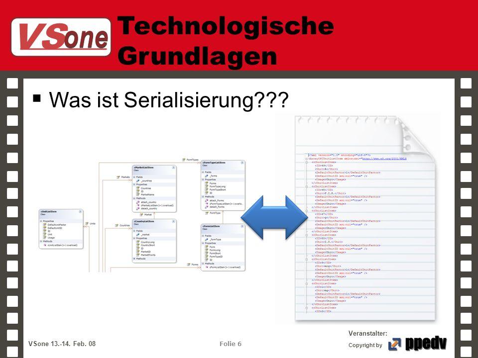 VS one Veranstalter: VSone 13.-14. Feb. 08 Folie 6 Copyright by Technologische Grundlagen Was ist Serialisierung???