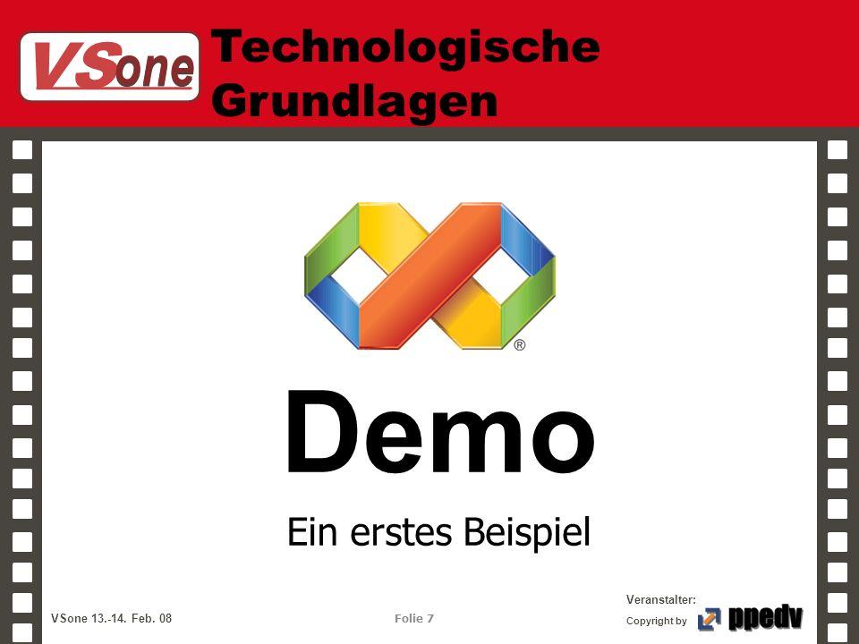 VS one Veranstalter: VSone 13.-14. Feb. 08 Folie 7 Copyright by Technologische Grundlagen Demo Ein erstes Beispiel
