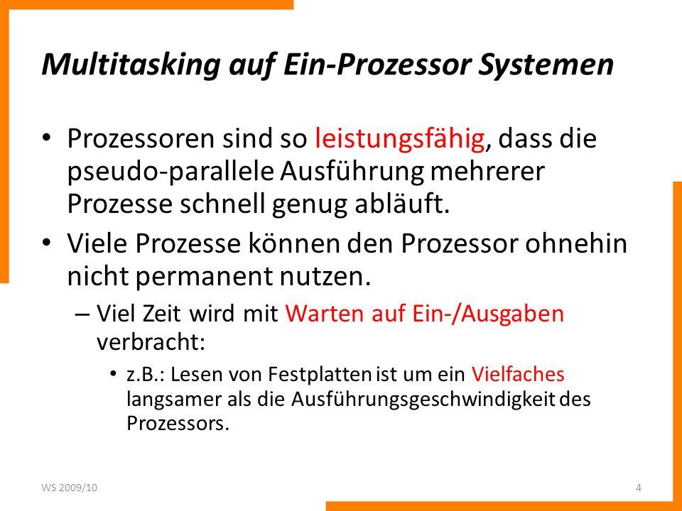 Multitasking auf Ein-Prozessor Systemen Prozessoren sind so leistungsfähig, dass die pseudo-parallele Ausführung mehrerer Prozesse schnell genug abläu