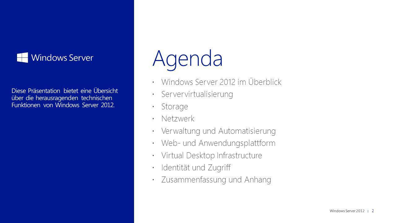 Windows Server 2012 im Überblick Servervirtualisierung Storage Netzwerk Verwaltung und Automatisierung Web- und Anwendungsplattform Virtual Desktop In