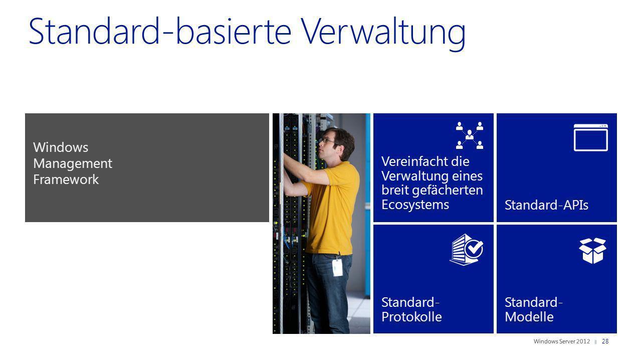 Vereinfacht die Verwaltung eines breit gefächerten Ecosystems Standard-APIs Standard- Protokolle Standard- Modelle Windows Management Framework 28