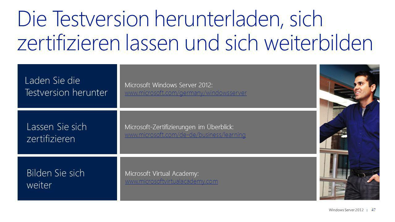 Laden Sie die Testversion herunter 47 Microsoft Windows Server 2012: www.microsoft.com/germany/windowsserver www.microsoft.com/germany/windowsserver M