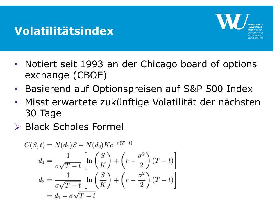 Volatilitätsindex Notiert seit 1993 an der Chicago board of options exchange (CBOE) Basierend auf Optionspreisen auf S&P 500 Index Misst erwartete zukünftige Volatilität der nächsten 30 Tage Black Scholes Formel