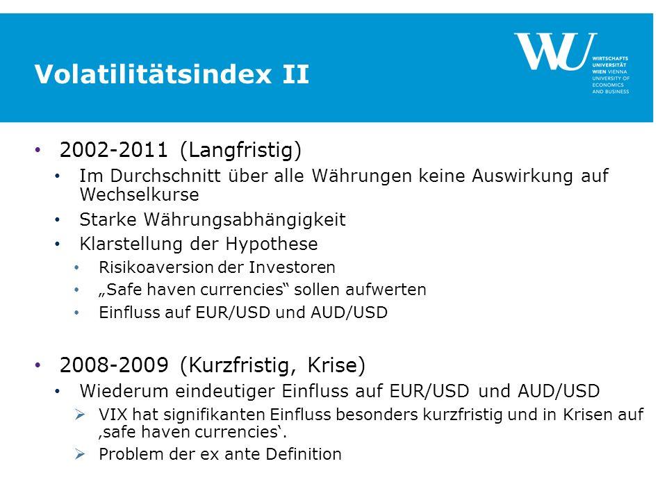 Volatilitätsindex II 2002-2011 (Langfristig) Im Durchschnitt über alle Währungen keine Auswirkung auf Wechselkurse Starke Währungsabhängigkeit Klarstellung der Hypothese Risikoaversion der Investoren Safe haven currencies sollen aufwerten Einfluss auf EUR/USD und AUD/USD 2008-2009 (Kurzfristig, Krise) Wiederum eindeutiger Einfluss auf EUR/USD und AUD/USD VIX hat signifikanten Einfluss besonders kurzfristig und in Krisen auf safe haven currencies.