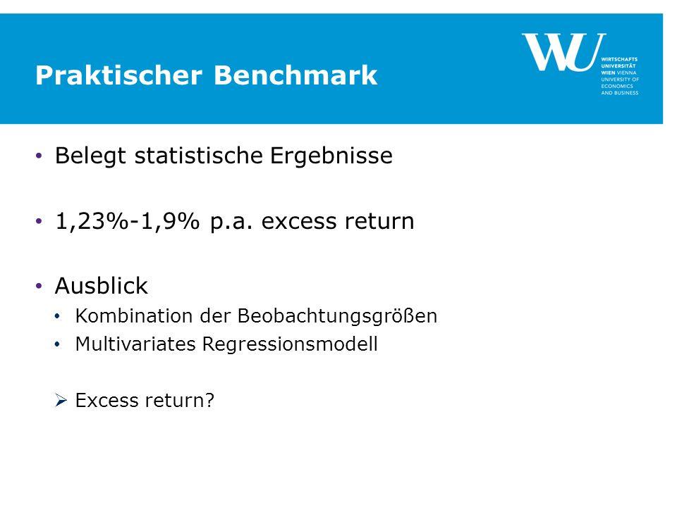 Praktischer Benchmark Belegt statistische Ergebnisse 1,23%-1,9% p.a. excess return Ausblick Kombination der Beobachtungsgrößen Multivariates Regressio