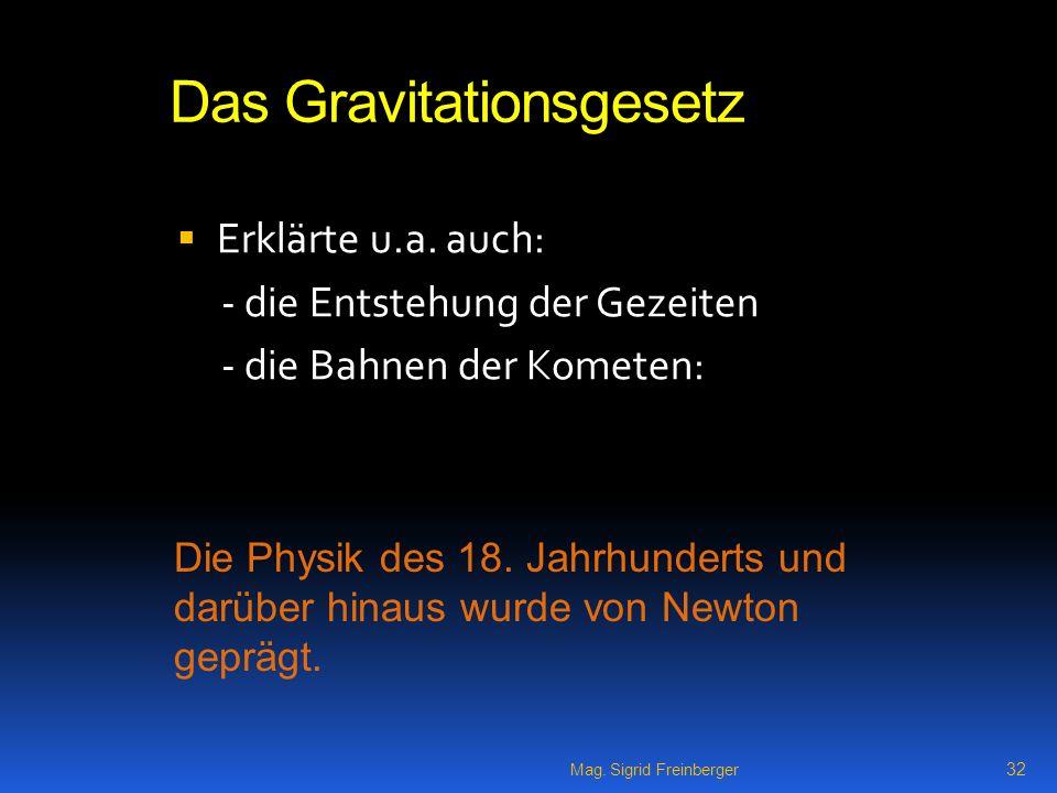 Mag.Sigrid Freinberger 32 Das Gravitationsgesetz Erklärte u.a.