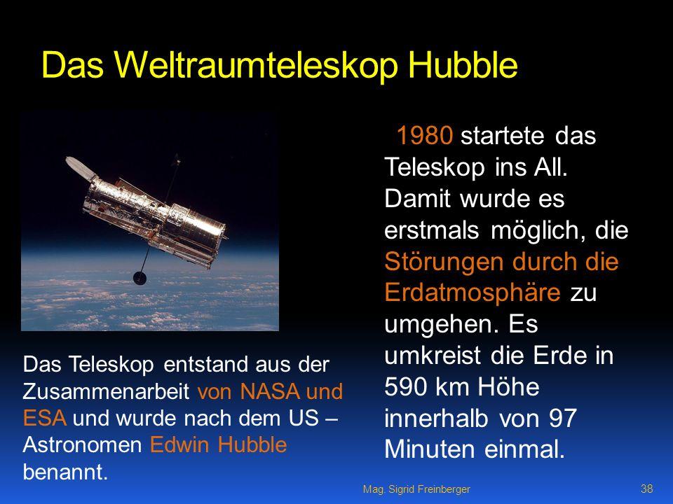 Das Weltraumteleskop Hubble 1980 startete das Teleskop ins All.