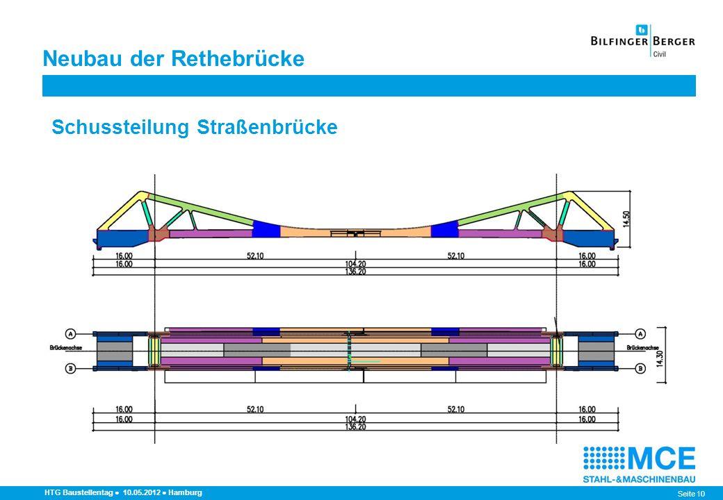 Seite 10 HTG Baustellentag 10.05.2012 Hamburg Schussteilung Straßenbrücke Neubau der Rethebrücke