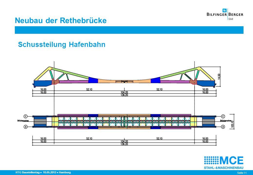 Seite 11 HTG Baustellentag 10.05.2012 Hamburg Schussteilung Hafenbahn Neubau der Rethebrücke