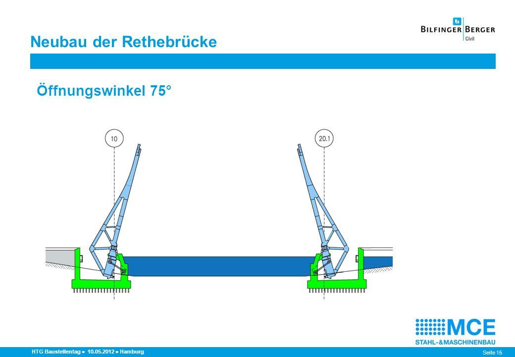 Seite 15 HTG Baustellentag 10.05.2012 Hamburg Öffnungswinkel 75° Neubau der Rethebrücke