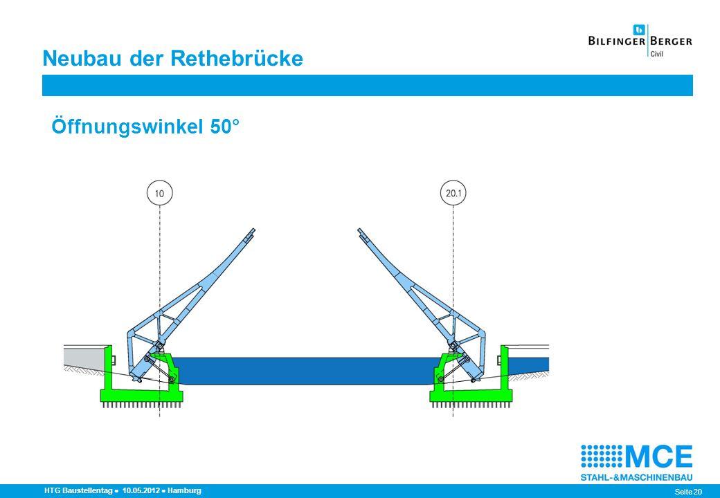 Seite 20 HTG Baustellentag 10.05.2012 Hamburg Öffnungswinkel 50° Neubau der Rethebrücke