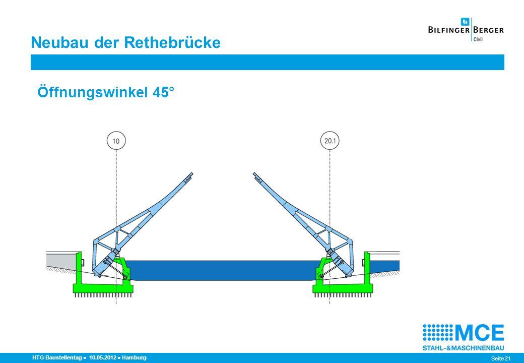 Seite 21 HTG Baustellentag 10.05.2012 Hamburg Öffnungswinkel 45° Neubau der Rethebrücke