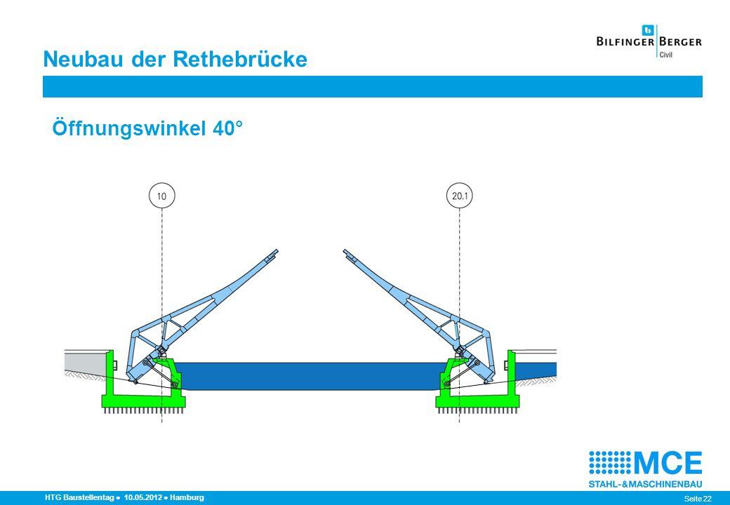 Seite 22 HTG Baustellentag 10.05.2012 Hamburg Öffnungswinkel 40° Neubau der Rethebrücke