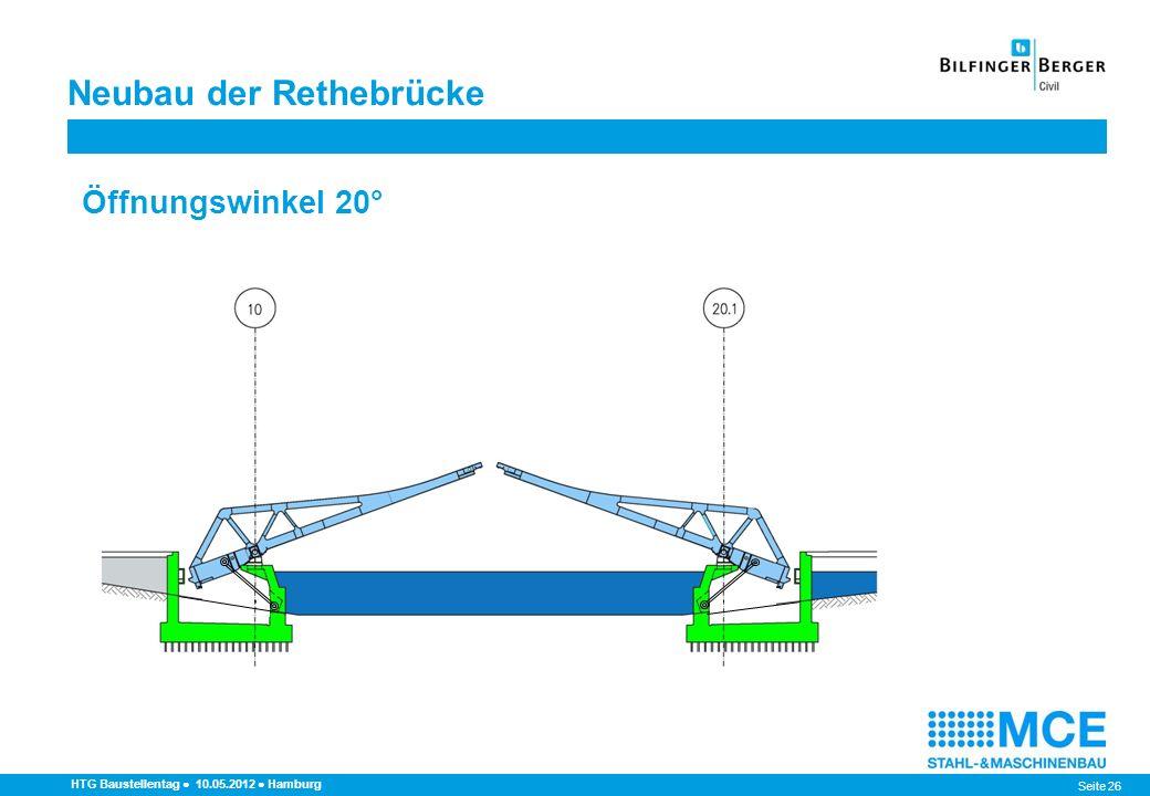 Seite 26 Neubau der Rethebrücke HTG Baustellentag 10.05.2012 Hamburg Öffnungswinkel 20°