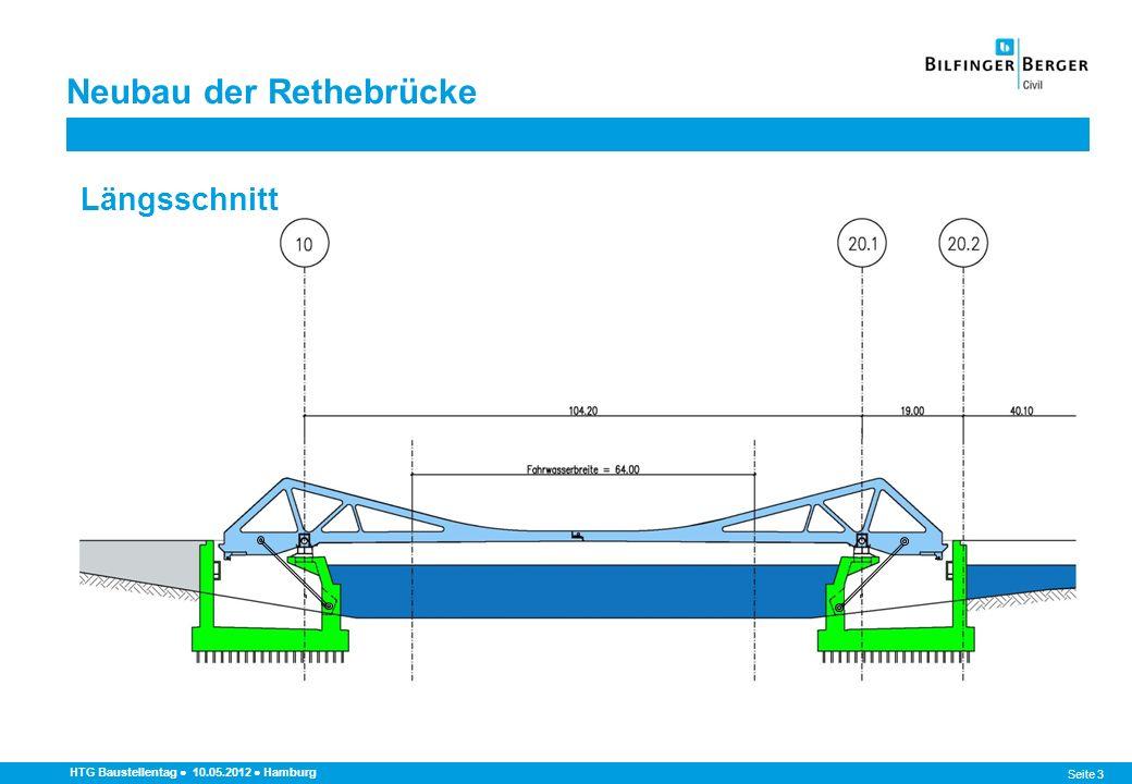 Seite 4 Neubau der Rethebrücke HTG Baustellentag 10.05.2012 Hamburg Querschnitt StraßenbrückeHafenbahn