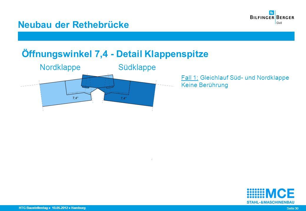 Seite 30 HTG Baustellentag 10.05.2012 Hamburg Fall 1: Gleichlauf Süd- und Nordklappe Keine Berührung Fall 2: Südklappe vor Nordklappe Erste Berührung