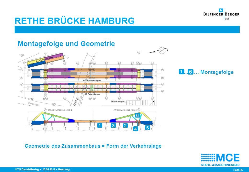 Seite 36 RETHE BRÜCKE HAMBURG HTG Baustellentag 10.05.2012 Hamburg Montagefolge und Geometrie 1 2 3 5 4 6 1... … Montagefolge 6 Geometrie des Zusammen