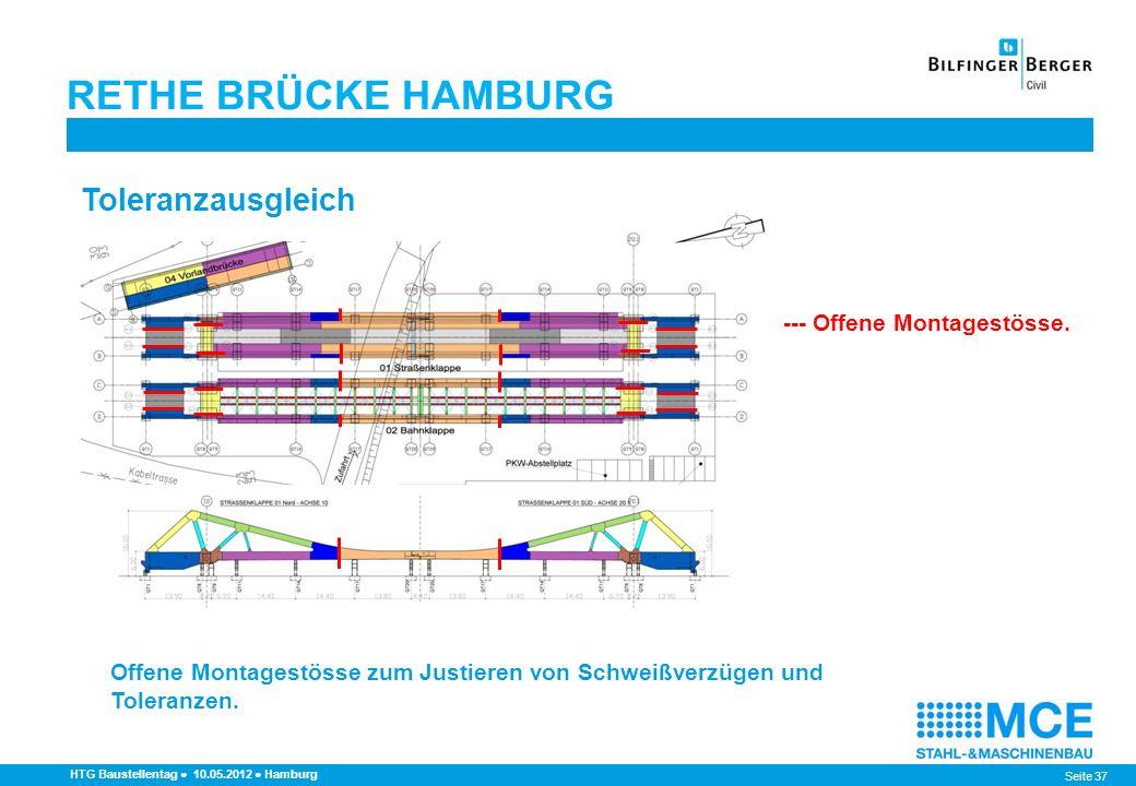 Seite 37 RETHE BRÜCKE HAMBURG HTG Baustellentag 10.05.2012 Hamburg Toleranzausgleich --- Offene Montagestösse. Offene Montagestösse zum Justieren von