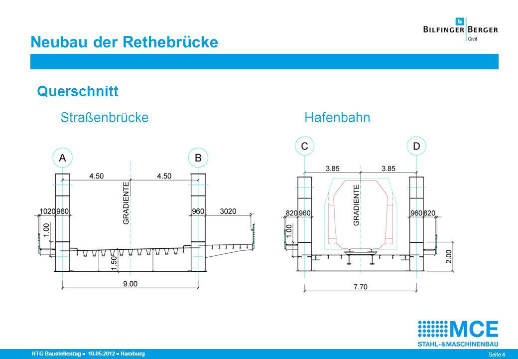 Seite 5 HTG Baustellentag 10.05.2012 Hamburg Statische Systeme Verkehrslage Durchlaufträger über drei Felder Ausbildung der Hauptträgerspitzen als Finger können pos.