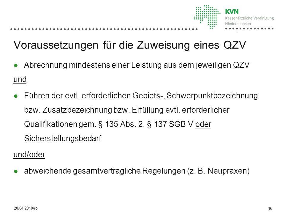 Voraussetzungen für die Zuweisung eines QZV Abrechnung mindestens einer Leistung aus dem jeweiligen QZV und Führen der evtl.