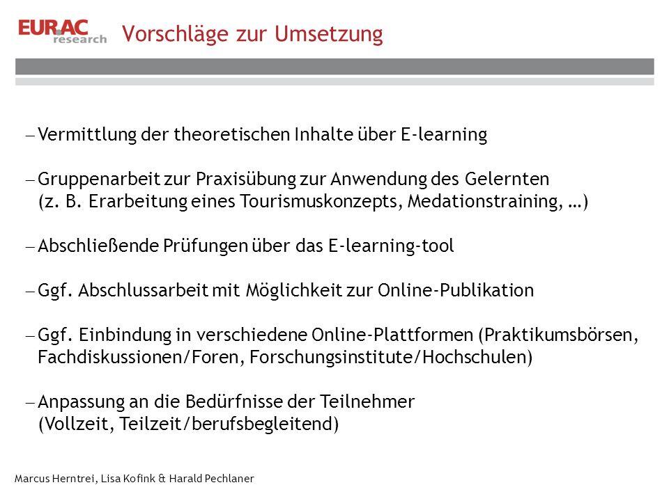 Marcus Herntrei, Lisa Kofink & Harald Pechlaner Vorschläge zur Umsetzung Vermittlung der theoretischen Inhalte über E-learning Gruppenarbeit zur Praxisübung zur Anwendung des Gelernten (z.