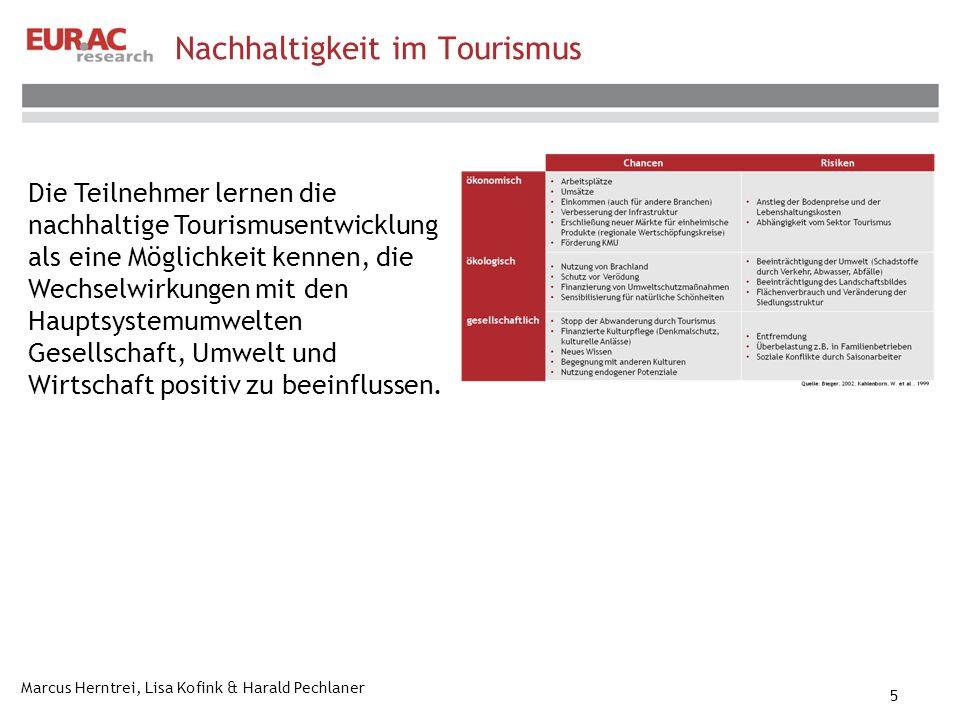 Marcus Herntrei, Lisa Kofink & Harald Pechlaner 5 Nachhaltigkeit im Tourismus Die Teilnehmer lernen die nachhaltige Tourismusentwicklung als eine Möglichkeit kennen, die Wechselwirkungen mit den Hauptsystemumwelten Gesellschaft, Umwelt und Wirtschaft positiv zu beeinflussen.