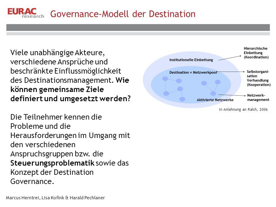 Marcus Herntrei, Lisa Kofink & Harald Pechlaner In Anlehnung an Raich, 2006 Governance-Modell der Destination Viele unabhängige Akteure, verschiedene Ansprüche und beschränkte Einflussmöglichkeit des Destinationsmanagement.