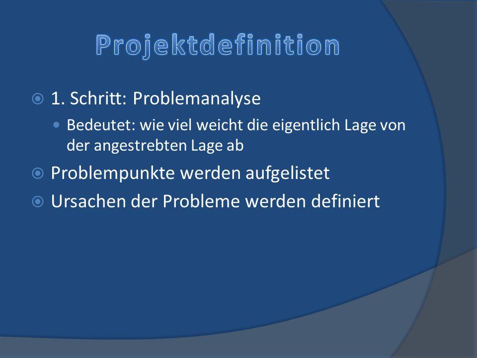 1. Schritt: Problemanalyse Bedeutet: wie viel weicht die eigentlich Lage von der angestrebten Lage ab Problempunkte werden aufgelistet Ursachen der Pr