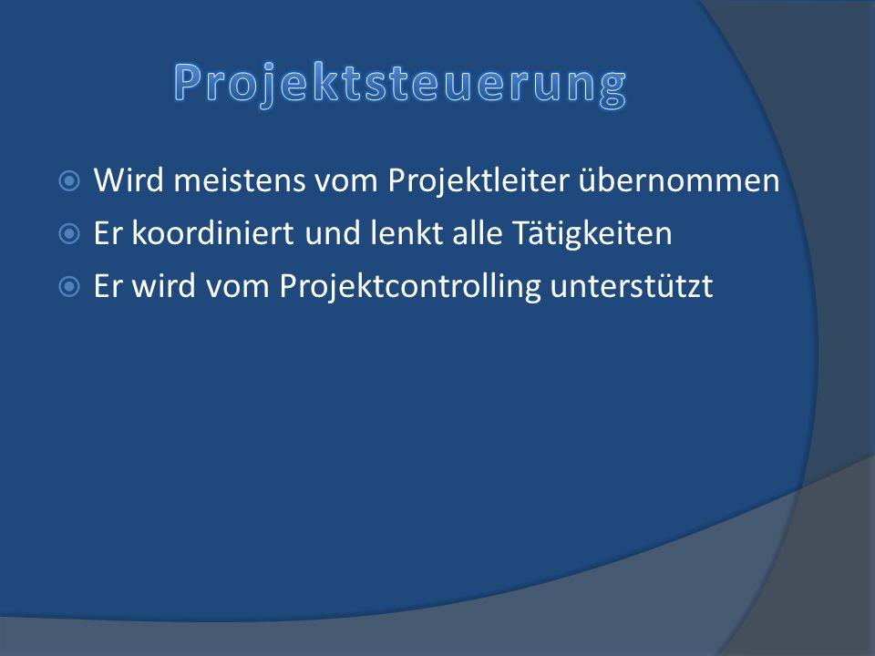 Wird meistens vom Projektleiter übernommen Er koordiniert und lenkt alle Tätigkeiten Er wird vom Projektcontrolling unterstützt