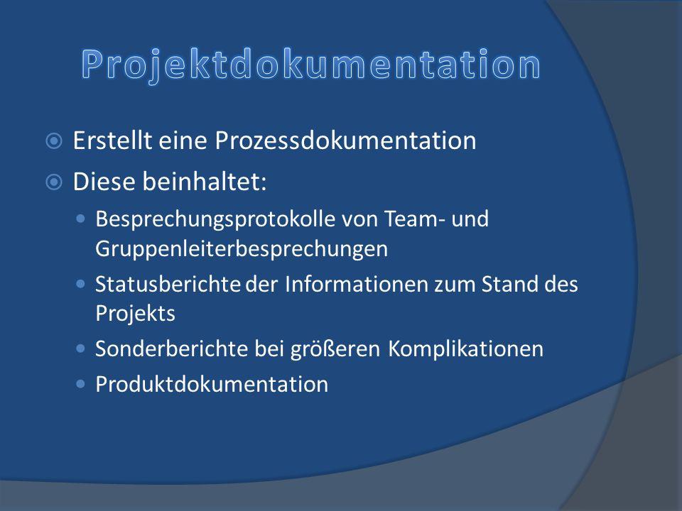 Erstellt eine Prozessdokumentation Diese beinhaltet: Besprechungsprotokolle von Team- und Gruppenleiterbesprechungen Statusberichte der Informationen