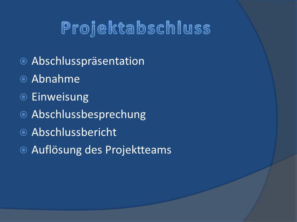 Abschlusspräsentation Abnahme Einweisung Abschlussbesprechung Abschlussbericht Auflösung des Projektteams