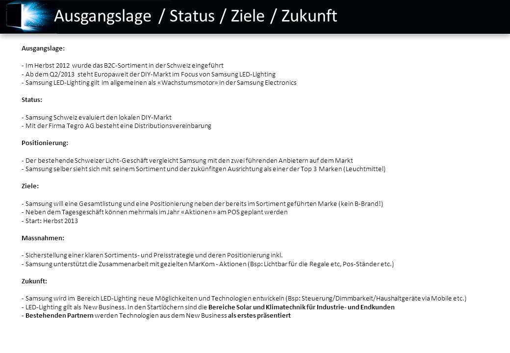 Ausgangslage / Status / Ziele / Zukunft Ausgangslage: - Im Herbst 2012 wurde das B2C-Sortiment in der Schweiz eingeführt - Ab dem Q2/2013 steht Europa