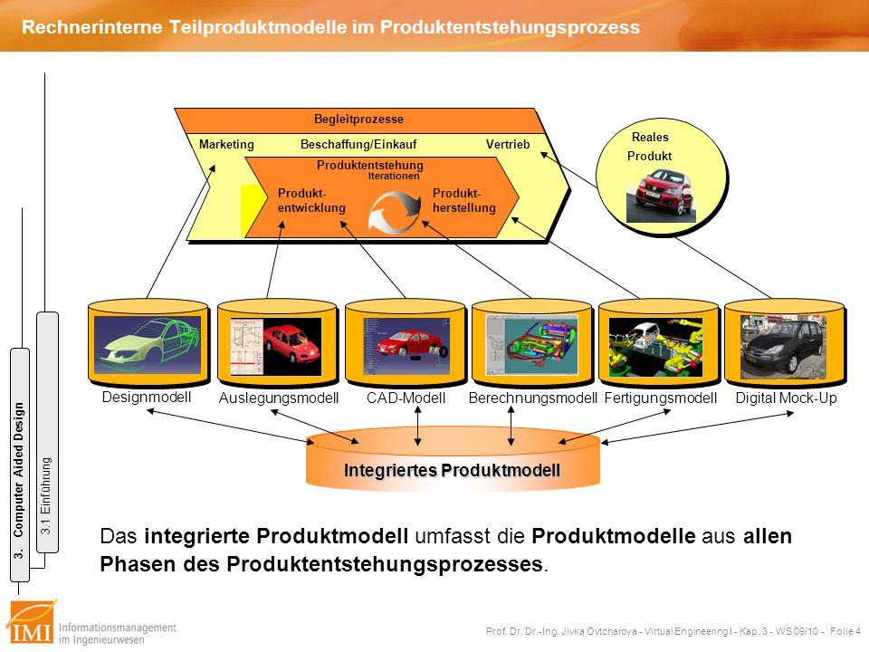 Prof. Dr. Dr.-Ing. Jivka Ovtcharova - Virtual Engineering I - Kap. 3 - WS 09/10 - Folie 4 Rechnerinterne Teilproduktmodelle im Produktentstehungsproze