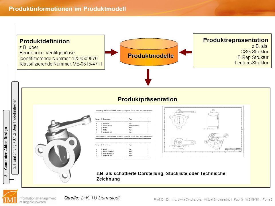 Prof. Dr. Dr.-Ing. Jivka Ovtcharova - Virtual Engineering I - Kap. 3 - WS 09/10 - Folie 8 Produktinformationen im Produktmodell Produktmodelle Produkt