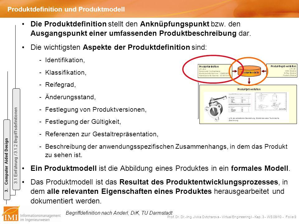 Prof. Dr. Dr.-Ing. Jivka Ovtcharova - Virtual Engineering I - Kap. 3 - WS 09/10 - Folie 9 Produktdefinition und Produktmodell Die Produktdefinition st