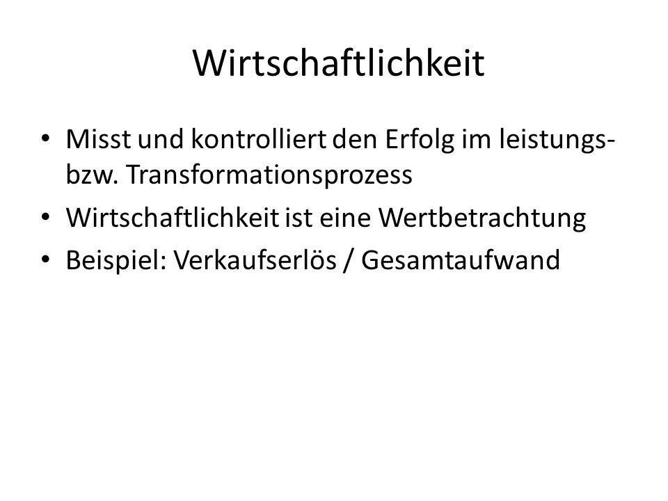 Wirtschaftlichkeit Misst und kontrolliert den Erfolg im leistungs- bzw. Transformationsprozess Wirtschaftlichkeit ist eine Wertbetrachtung Beispiel: V