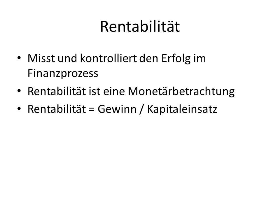 Rentabilität Misst und kontrolliert den Erfolg im Finanzprozess Rentabilität ist eine Monetärbetrachtung Rentabilität = Gewinn / Kapitaleinsatz