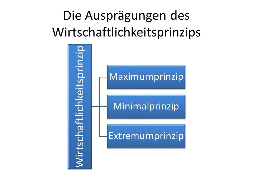Die Ausprägungen des Wirtschaftlichkeitsprinzips Wirtschaftlichkeitsprinzip Maximumprinzip Minimalprinzip Extremumprinzip