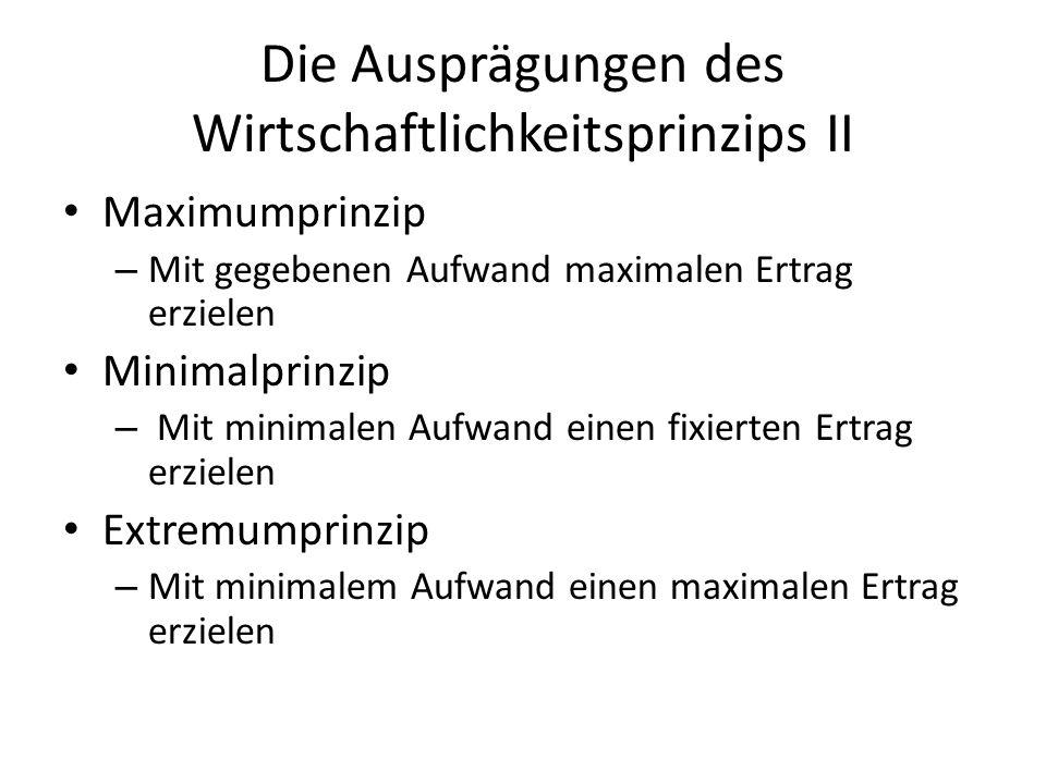 Die Ausprägungen des Wirtschaftlichkeitsprinzips II Maximumprinzip – Mit gegebenen Aufwand maximalen Ertrag erzielen Minimalprinzip – Mit minimalen Au