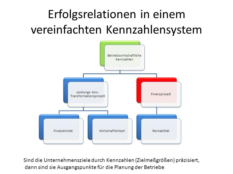 Erfolgsrelationen in einem vereinfachten Kennzahlensystem Betriebswirtschaftliche Kennzahlen Leistungs- bzw. Transformationsprozeß ProduktivitätWirtsc