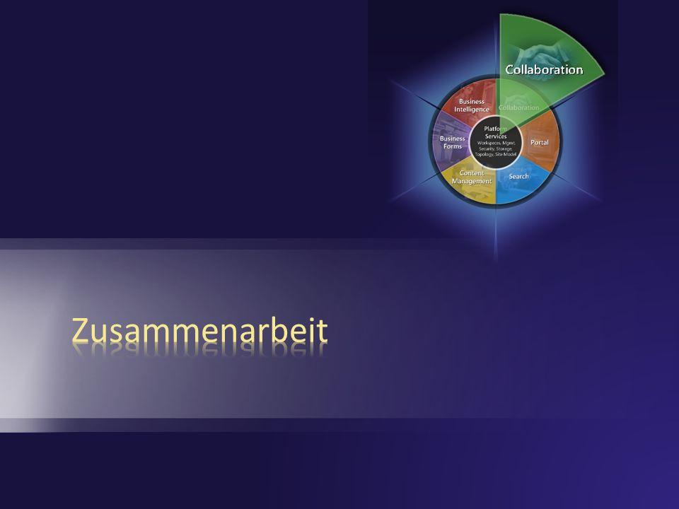 Zusammenarbeit Verbesserungen Erweiterte Dokumentbibliotheken Verbesserte Navigation Project Management light Offline und mobiler Zugriff Outlook Integration Benachrichtigungen und RSS Mobility Community und Kommunikation Wikis & Blogs E-Mail und Diskussionen Personen und Gruppen