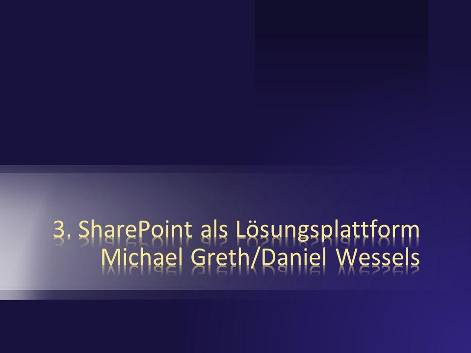 Entwicklung der SharePoint Technologie SharePoint Team Services 1.0 Content Management Server 2002 SharePoint Portal Server 2001 SharePoint Portal Server 2003 Windows SharePoint Services 2.0 Windows SharePoint Services 3.0 Office SharePoint Server 2007 Portal, Web Content Management, … 2001 2003 2007