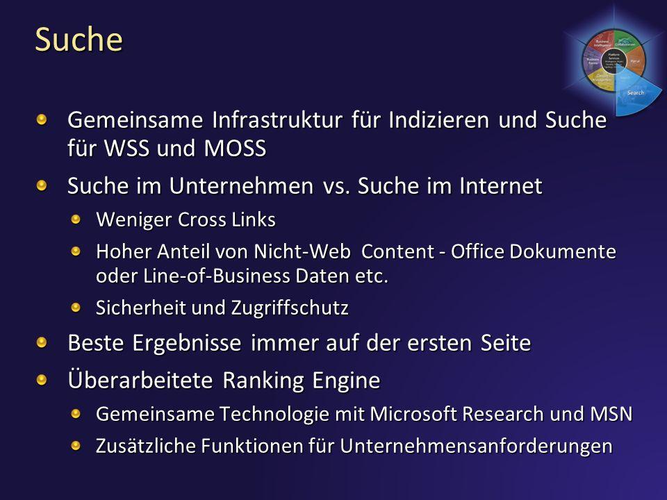 Suche Gemeinsame Infrastruktur für Indizieren und Suche für WSS und MOSS Suche im Unternehmen vs. Suche im Internet Weniger Cross Links Hoher Anteil v